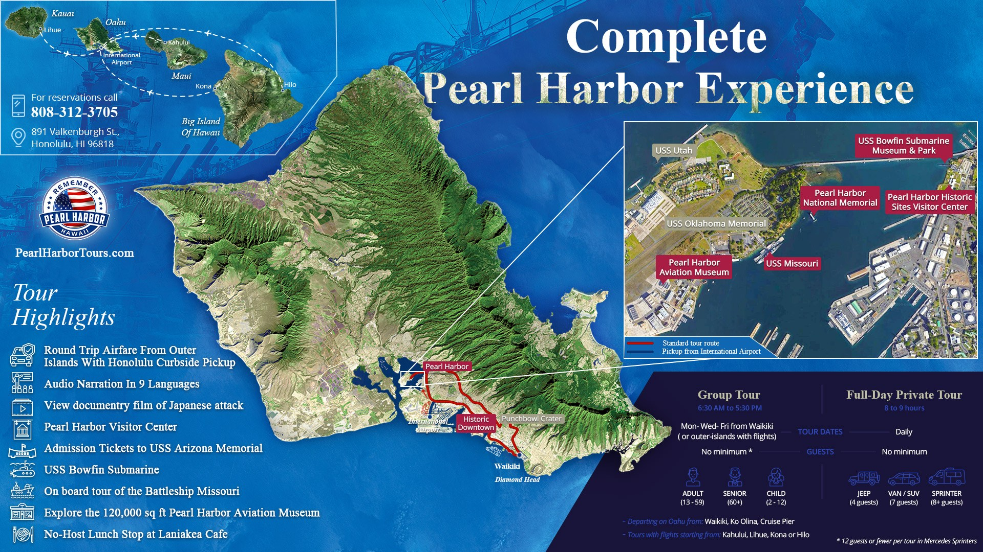 Complete Pearl Harbor Experience From Maui Kauai or Big Island Map