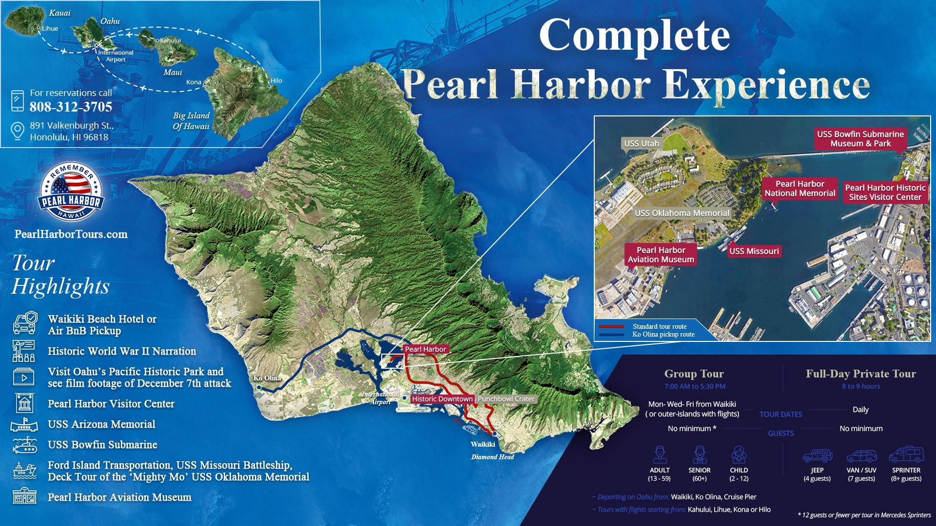 Complete Pearl Harbor Experience Map