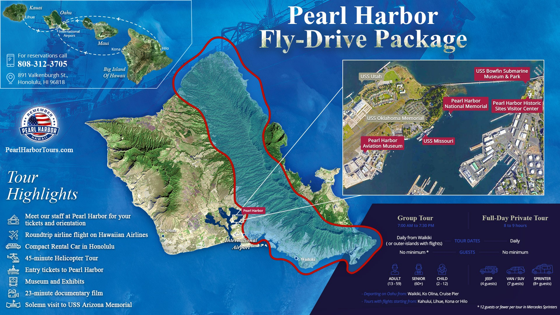 Fly Drive Package Pearl Harbor Tickets & Helicoter Tour Map
