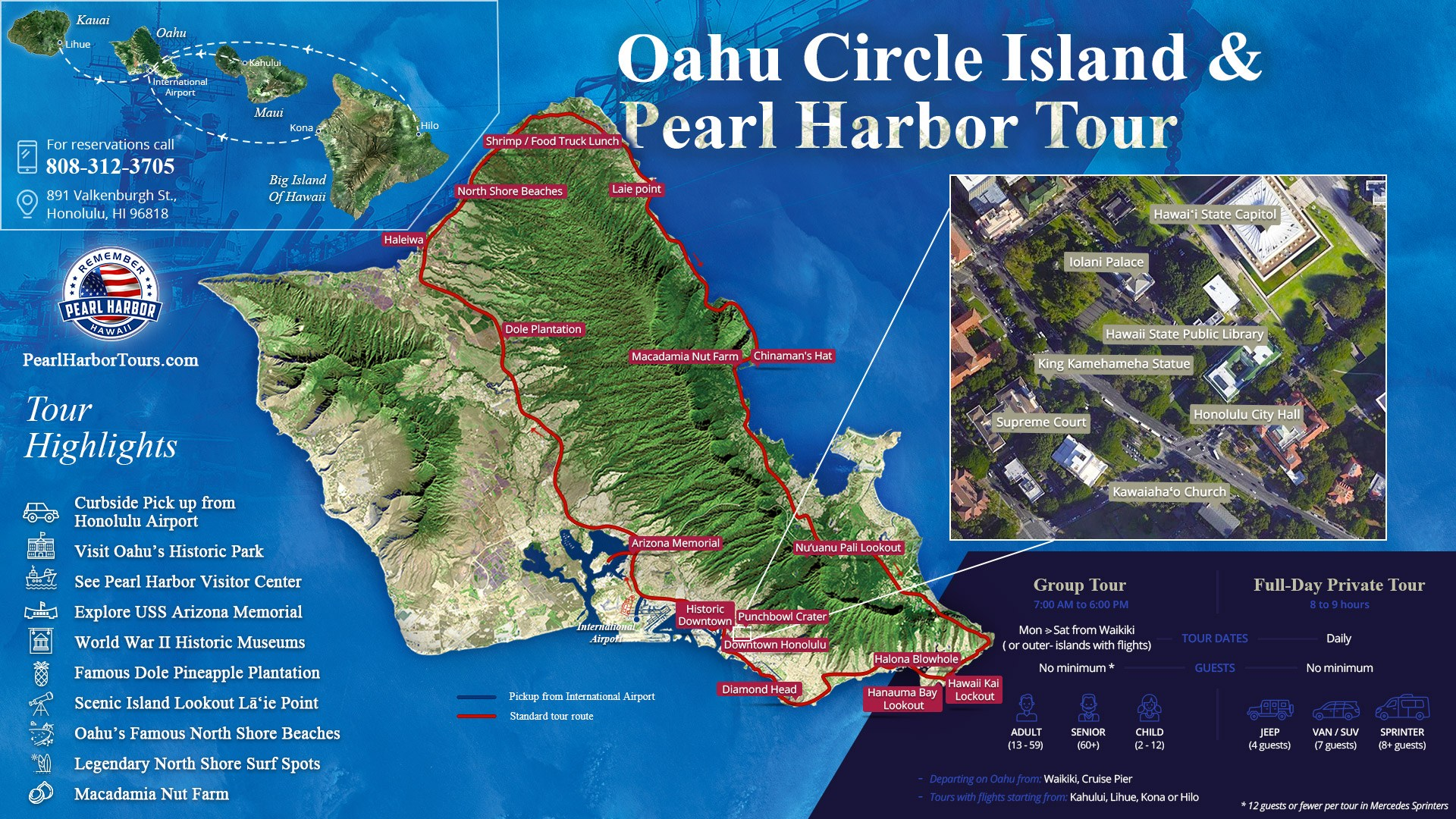 Oahu Circle Island & Pearl Harbor Tour From Maui Big Island of Hawaii or Kauai
