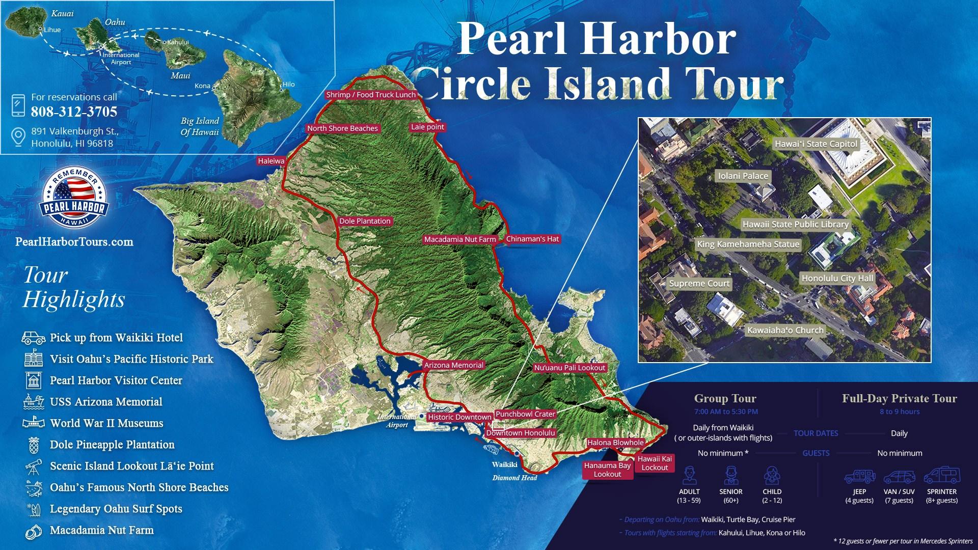 Oahu Circle Island Pearl Harbor Tour Map