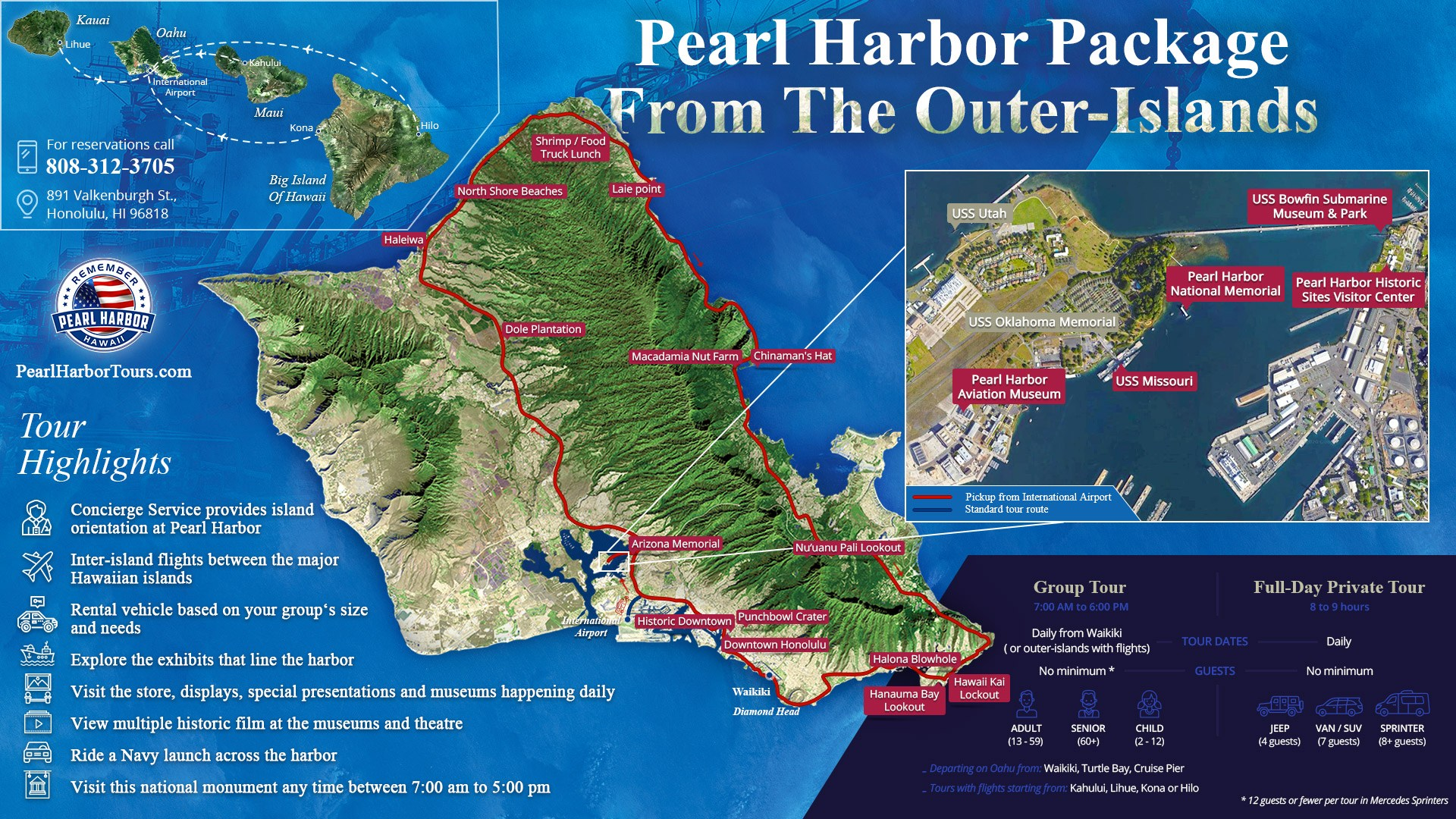 Pearl Harbor Package From The Outer Island Map