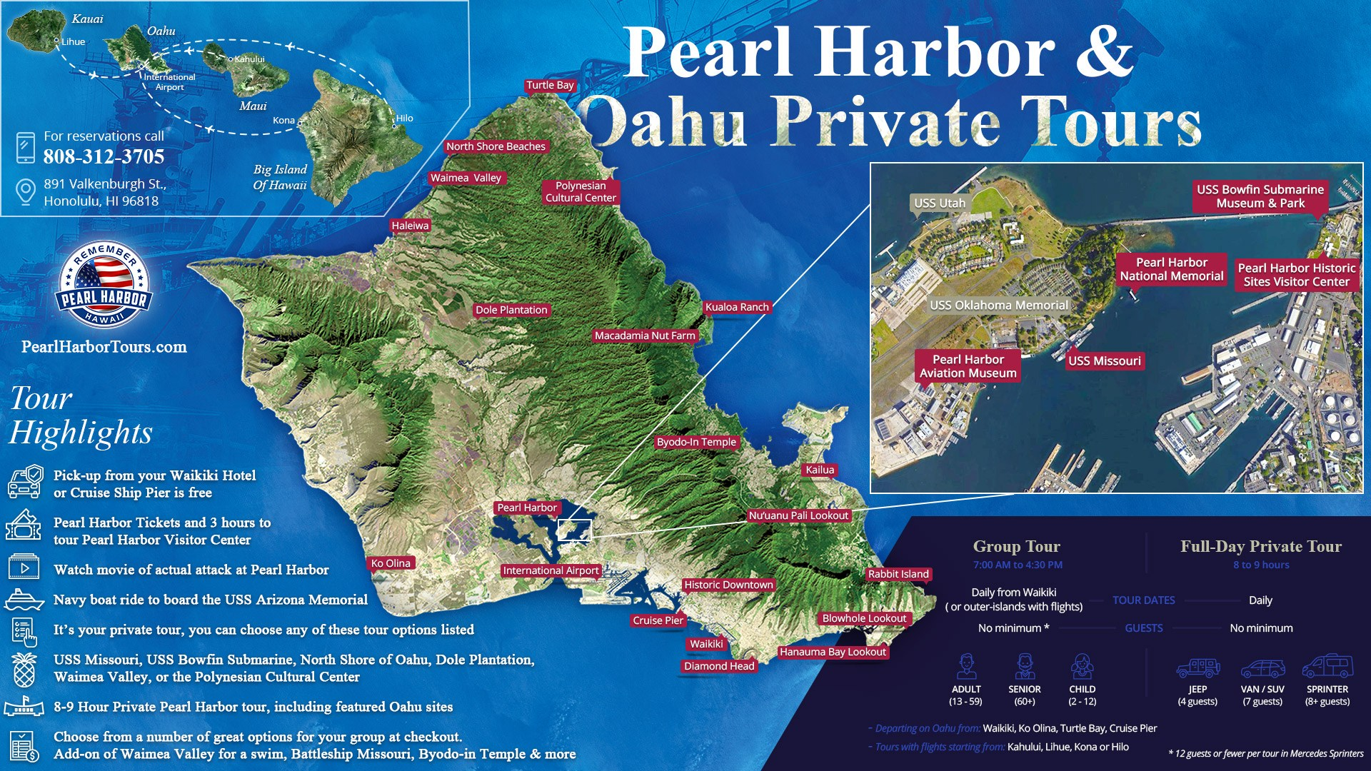 Pearl Harbor & Oahu Private Tours Map