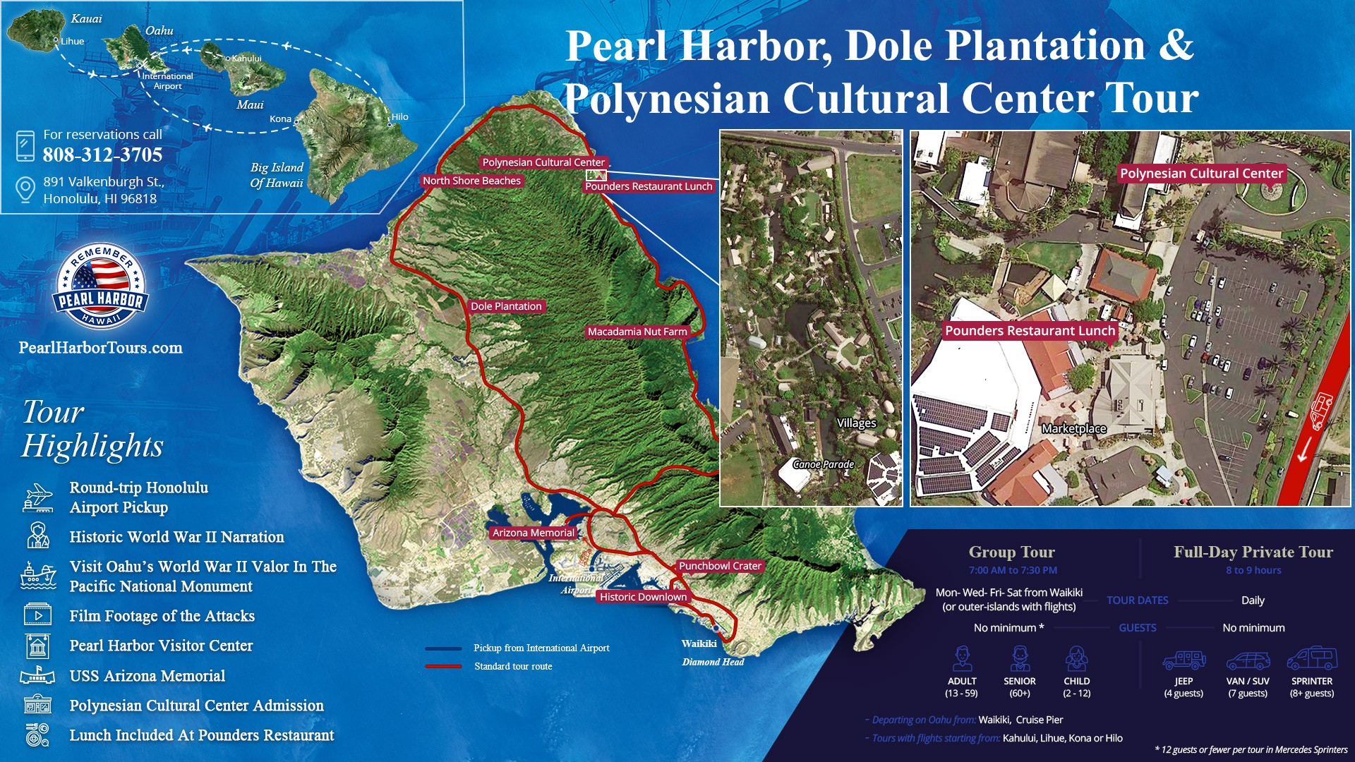 Polynesian Cultural Center Pearl Harbor And Dole Plantation Tour Map