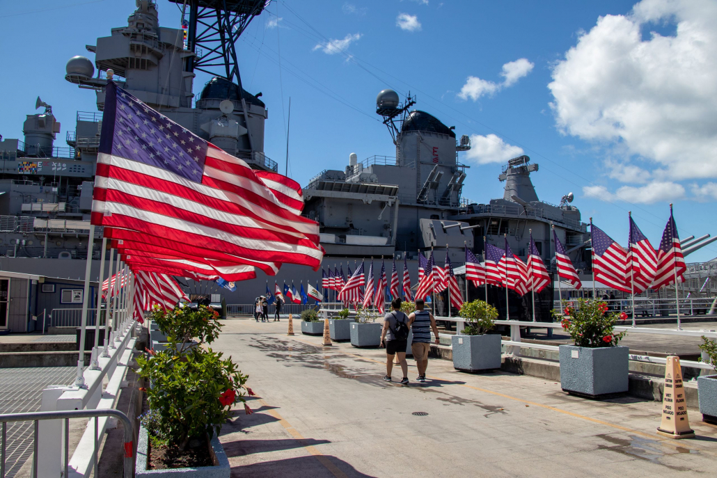 battleship-missouri-american-flag