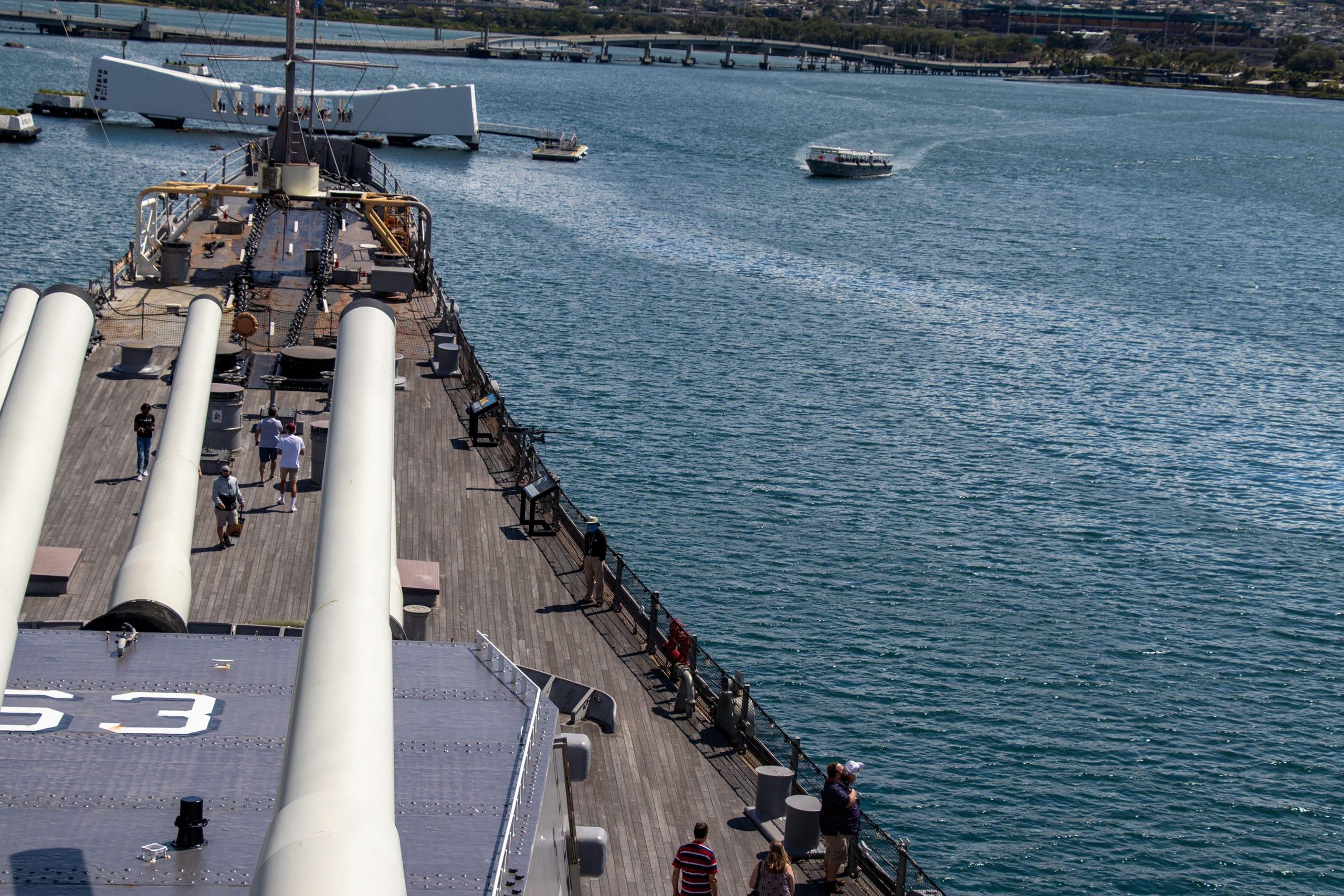 battleship missouri guns front deck boat
