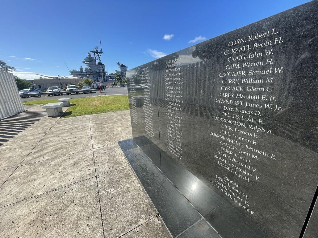 A granite memorial at the Oklahoma Memorial on Ford Island