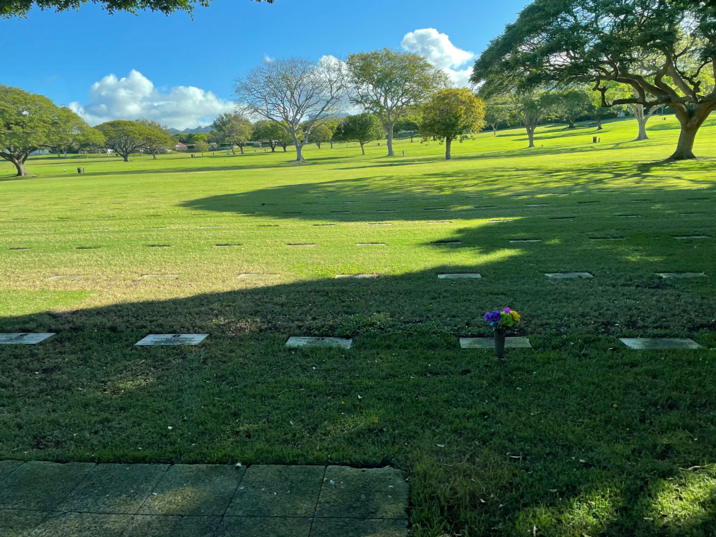 Grave markers at Punchbowl Cemetery