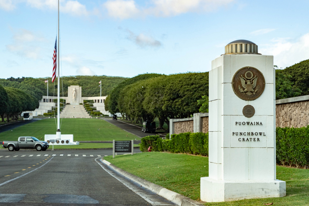 The entrance to Punchbowl National Cemetery