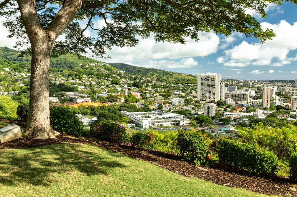 View of Honolulu from Crater Rim of Punchbowl National Memorial Cemetery of the Pacific Oahu