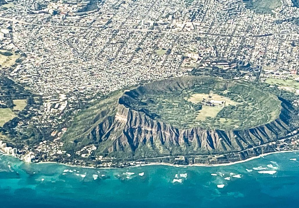 Diamondhead Crater Closeup Aerial View of Honolulu Oahu