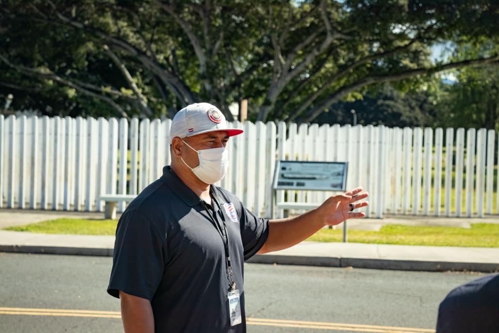 A tour guide explains the history of the Oklahoma Memorial