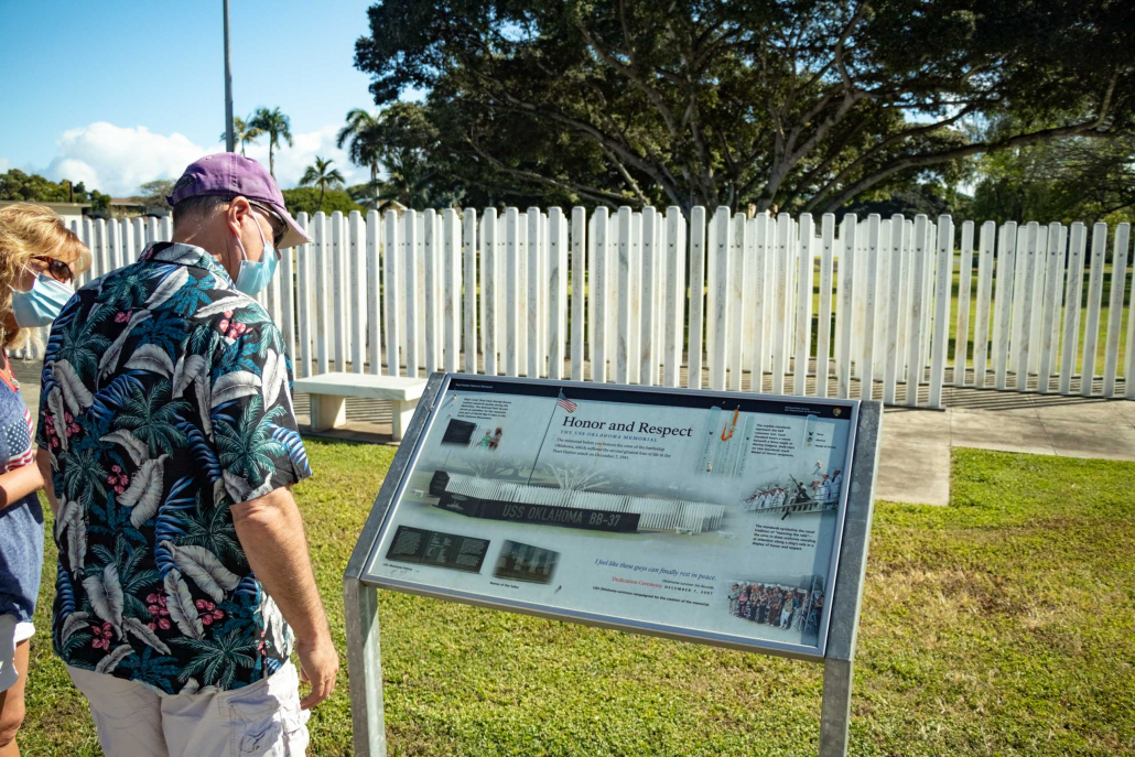 Informational signs are found throughout the Memorials at Pearl Harbor