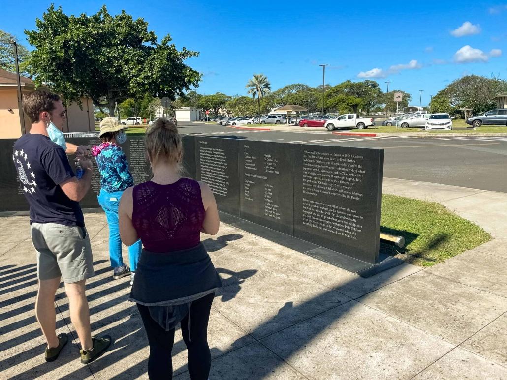 Visitors reflect at the Oklahoma Memorial