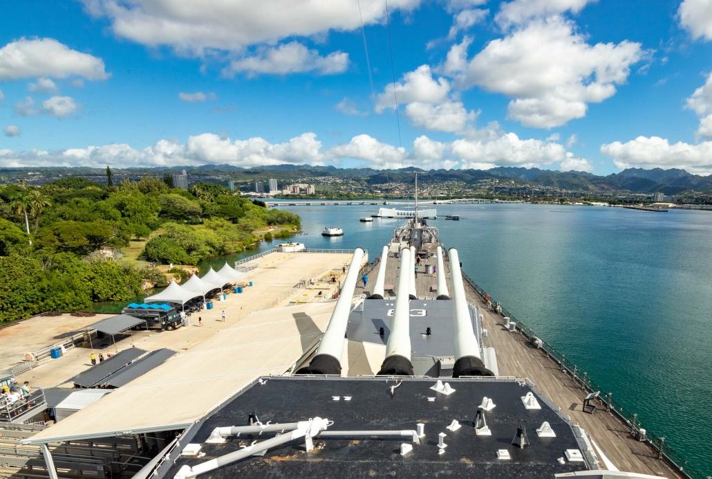 USS Missouri Guns Overlooking Arizona Memorial Pearl Harbor Oahu