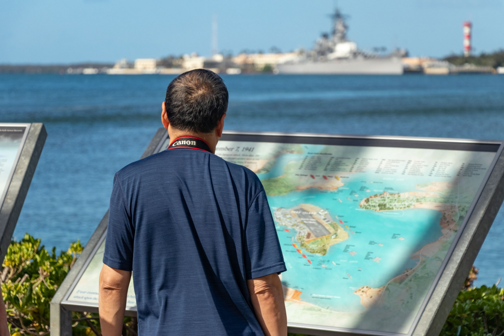 Visitor and Ford Island Map at Pearl Harbor Visitor Center Oahu