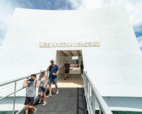 Arizona Memorial Entrance Visitors and Masks Pearl Harbor Oahu