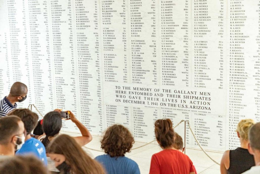 Arizona Memorial Marble Wall and Visitors Pearl Harbor Oahu