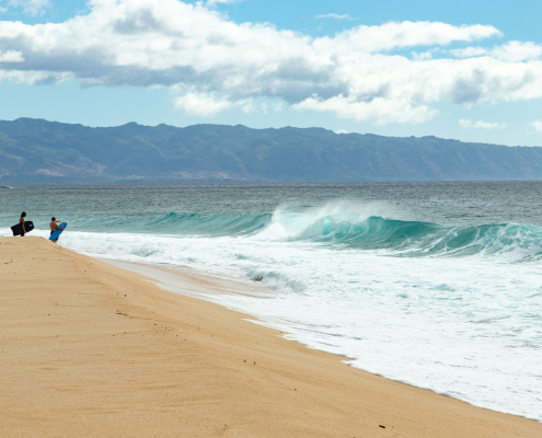 Banzai Pipeline Wave and Boogie Boarders North Shore Oahu