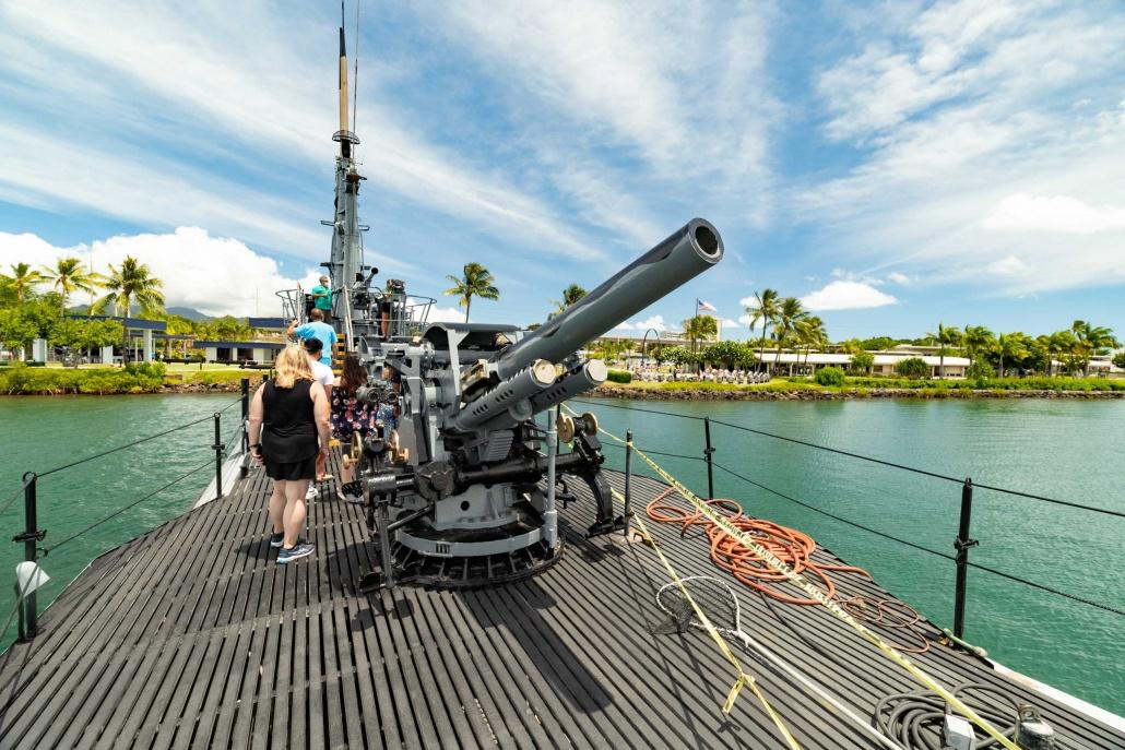 Bowfin Submarine Deck 5 inch gun Pearl Harbor Oahu