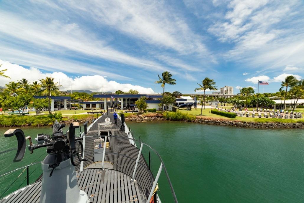 Bowfin Submarine Deck Gun and Outside Memorial Pearl Harbor Oahu