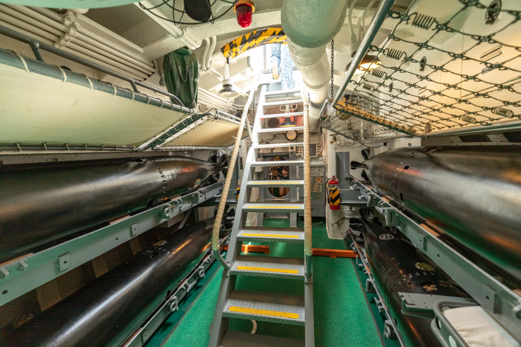 Bowfin Submarine Interior Exit Stairs and Torpedos Pearl Harbor Oahu