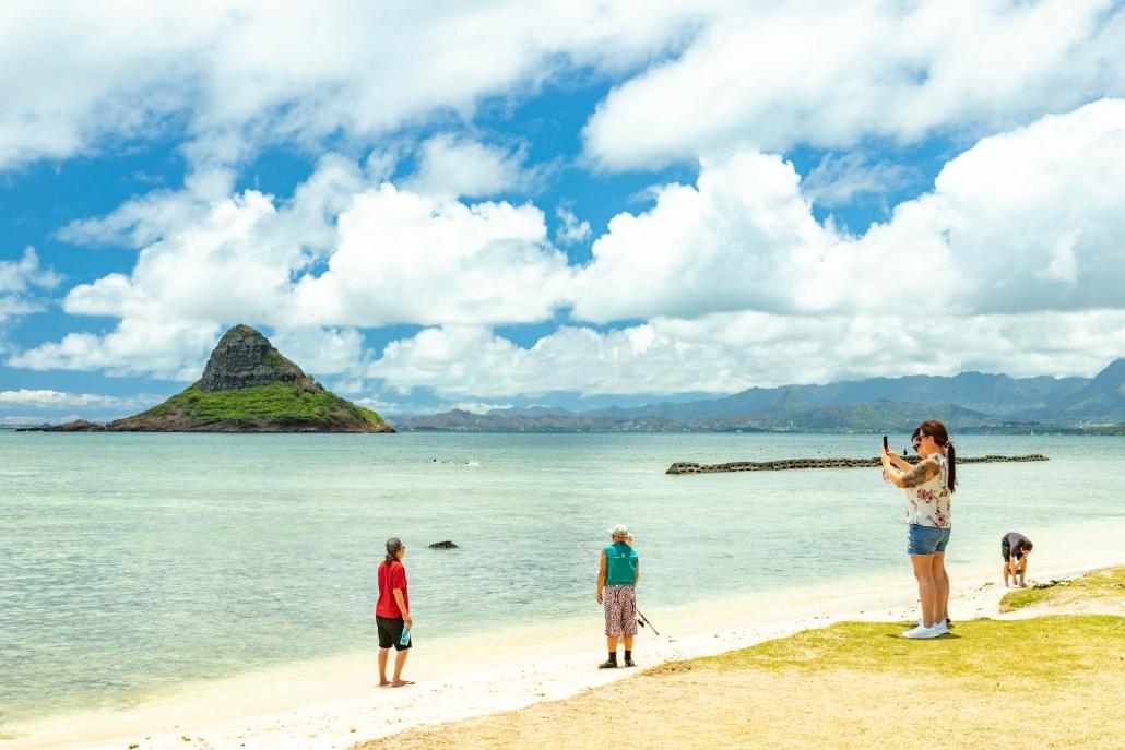 Kualoa Beach Park Chinaman's Hat Beach and Visitors Oahu