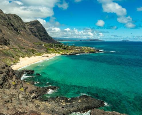 Makapuu Lookout View of Beach and Mountains Oahu