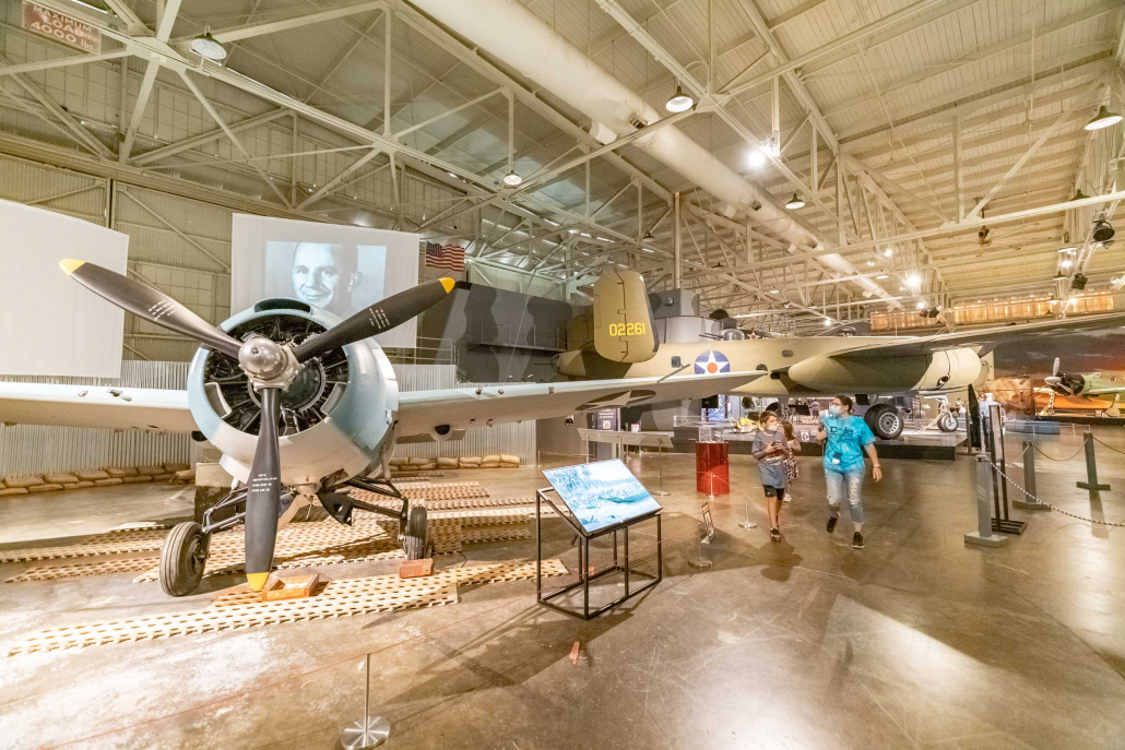 Pearl Harbor Aviation Museum Wildcat Fighter and Visitors Oahu
