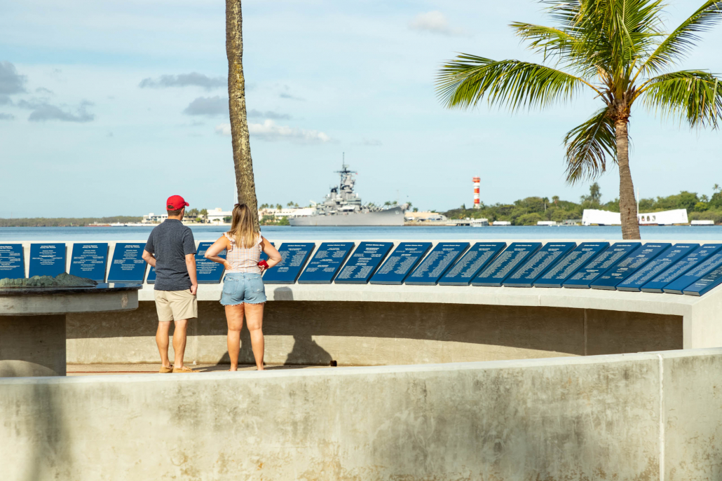 Pearl Harbor Visitor Center Outdoor Exhibits visitors Oahu