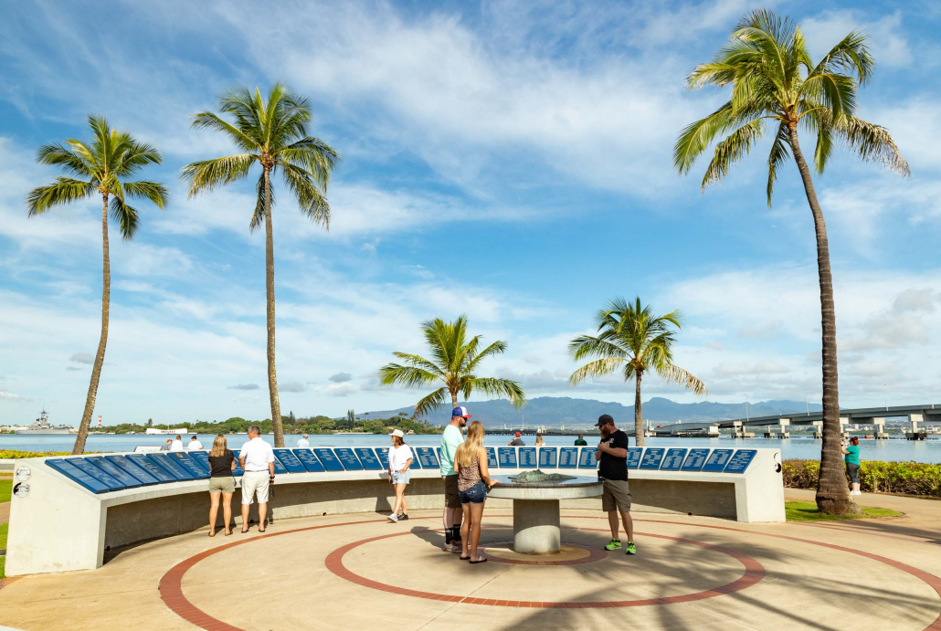 Pearl Harbor Visitor Center visitors and Outdoor Exhibits Oahu