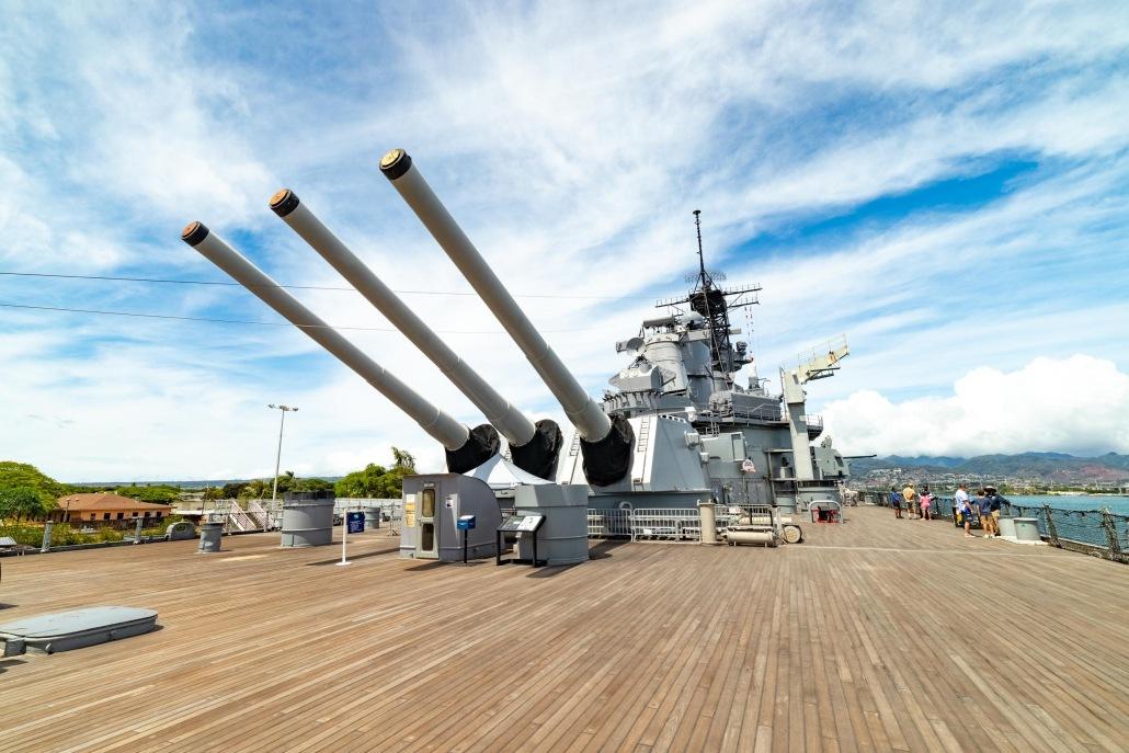 USS Missouri Battleship Deck and Guns Pearl Harbor Oahu